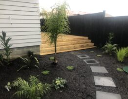 new pine decking and land scaping